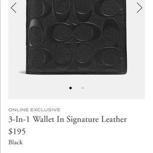 Coach men's leather 3 in 1 signature Wallet